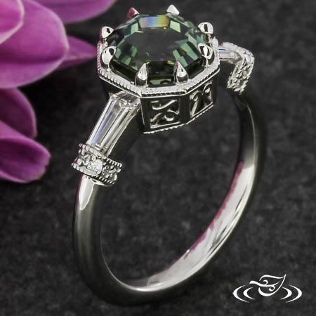 Asscher Cut Sapphire And Baguette Engagement Ring