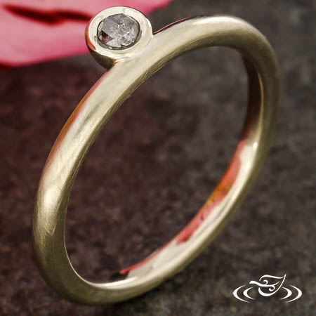 STACKABLE OFF CENTER ROSE CUT RING