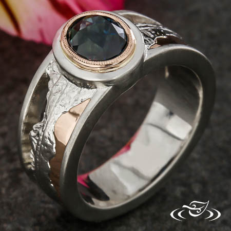 Rose Cut Sapphire Mountain Engagement Ring