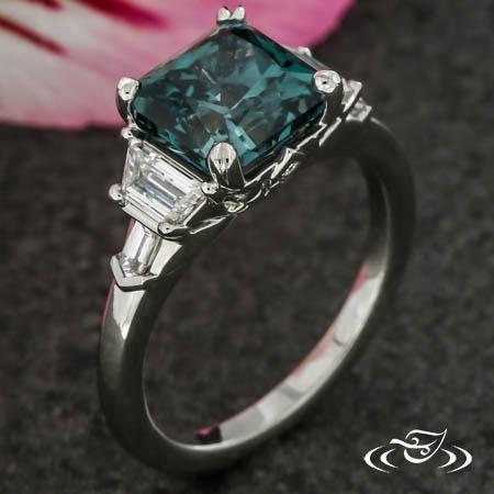 Art Deco Inspired Montana Sapphire Engagement Ring