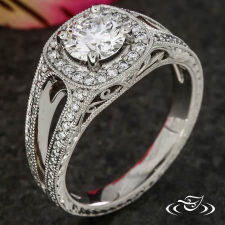 Split Band Diamond Halo Ring