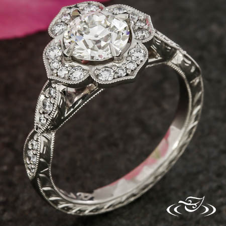 Vintage Inspired Floral Halo Engagement Ring