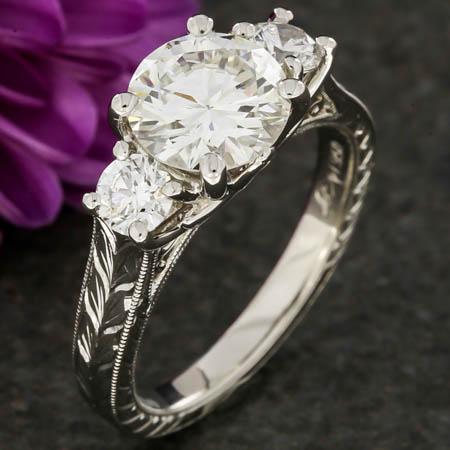 Vintage Inspired Three Stone Engraved Lotus Ring