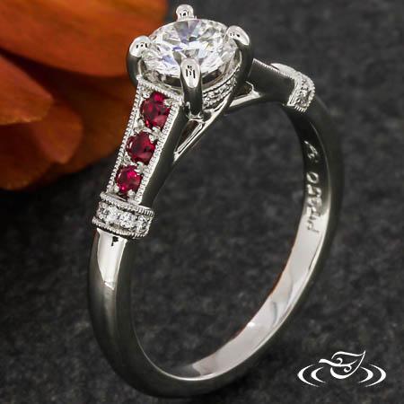 Classic Ruby Trellis Engagement Ring