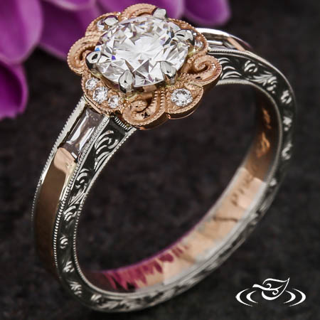 Platinum And Rose Gold Paisley Halo Engagement Ring
