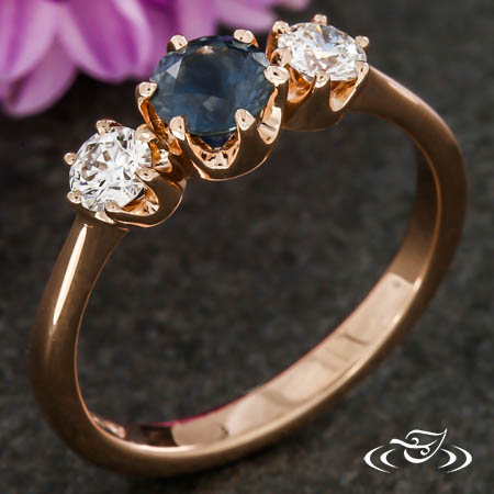 Montana Sapphire Crown Three Stone Engagement Ring