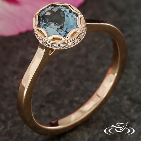 Scallop Bezel Engagement Ring