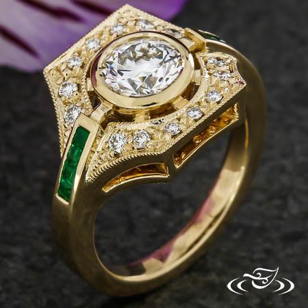 Custom Art Deco Style Halo Ring