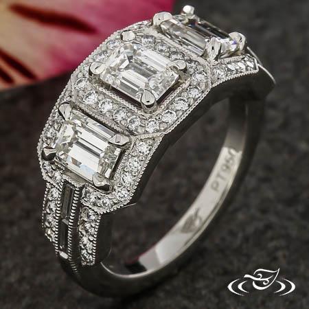 Emerald Diamond Art Deco Ring