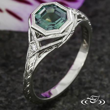 Art Deco Montana Sapphire Engagement Ring