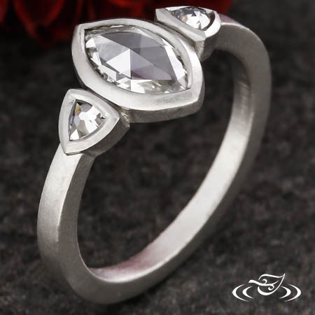 Rose Cut Marquise Three Stone Ring