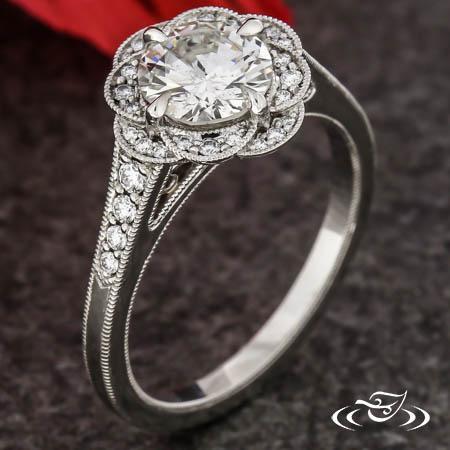 Vintage Floral Halo Ring