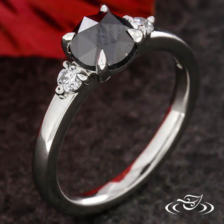 Black Diamond Three Stone Engagement Ring
