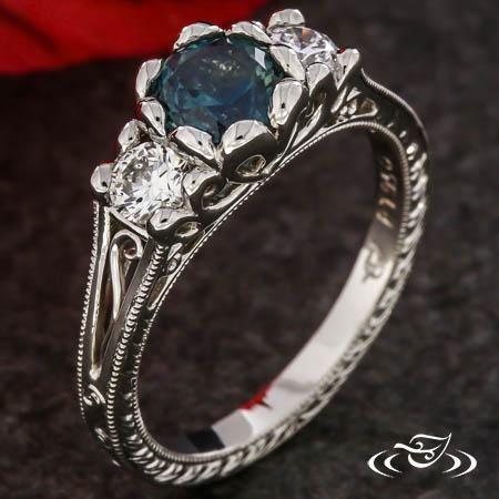 Vintage Petal Three-Stone Engagement Ring