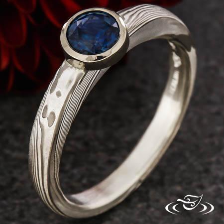 Modern Mokume Sapphire Engagement Ring