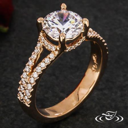 14Kt Rose Gold Split Shank Ring