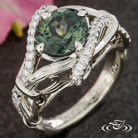 Montana Sapphire Nature Engagement Ring