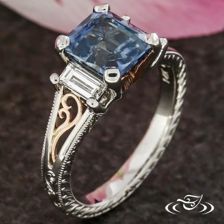 Antique Three Stone Sapphire And Diamond Ring