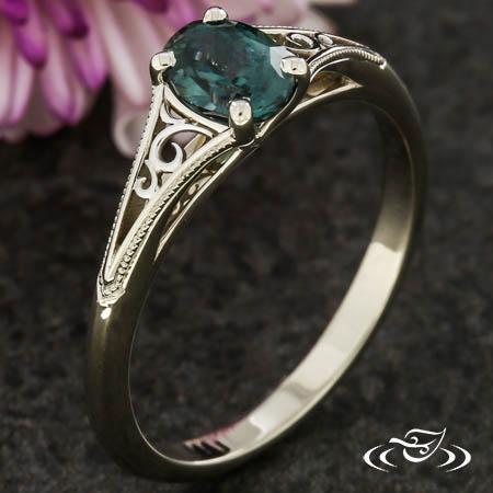 Filigree & Oval Montana Sapphire Engagement Ring