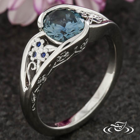 Forget Me Not Flower Engagement Ring
