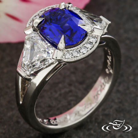 Sapphire And Shield Diamond Three Stone