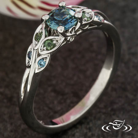 Teal Sapphire Leaf And Vine Engagement Ring