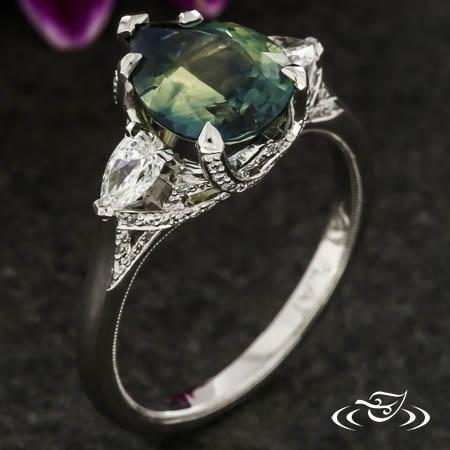 Sapphire Three Stone Trellis Ring