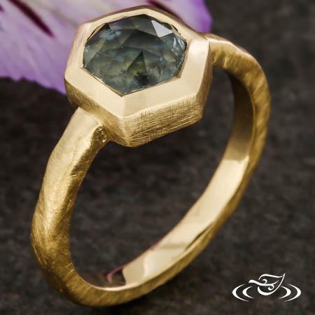 Hexagon Rose Cut Montana Sapphire
