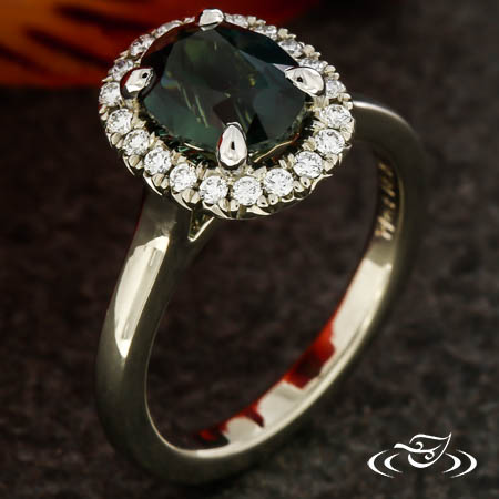 Nigerian Sapphire And Diamond Halo