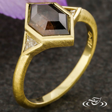 Three Stone Fairmined Geometric Ring