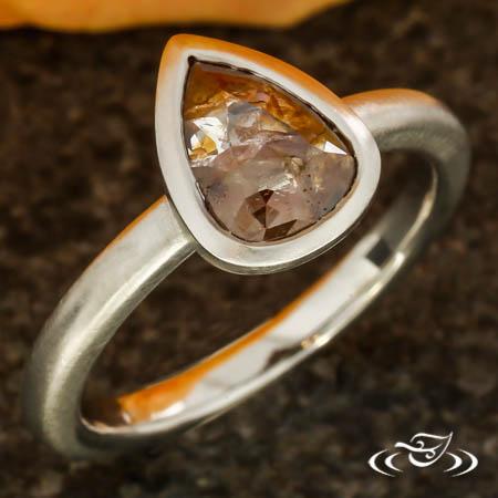 PT Bezel Set Engagement With Pear Shaped  Rose Cut Diamond