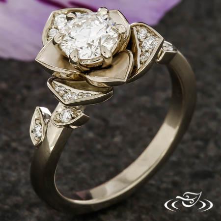 White Gold Lotus Ring