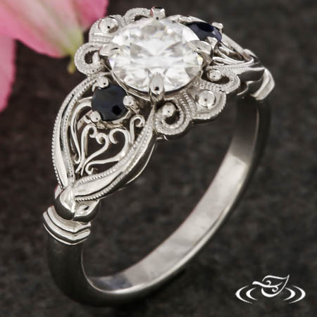 Filigree Halo Engagement Ring