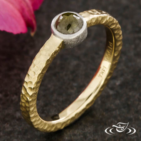 14Kt Two Tone Rustic Diamond Ring