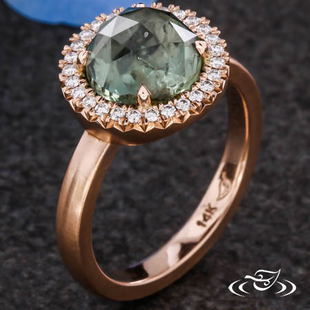 French Set Diamond Halo For Rose Cut