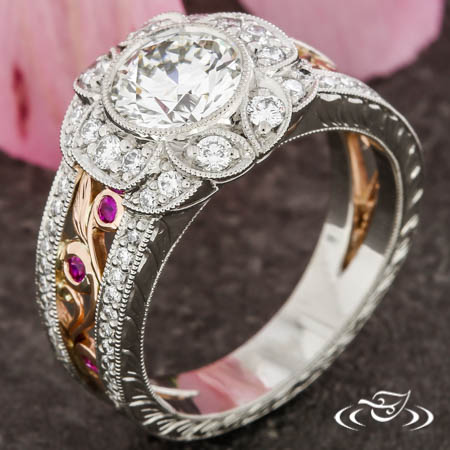 Vintage Floral Style Engagement Ring