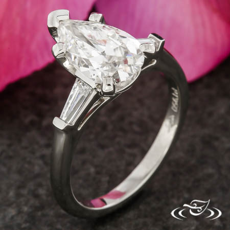 Pear And Baguette Three Stone Ring