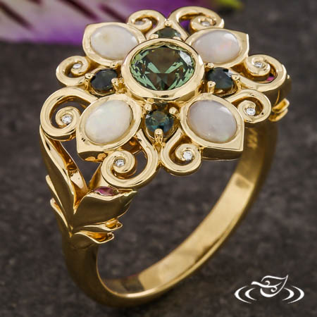 Floral Inspired Sapphire And Opal Ring