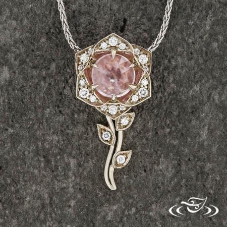 Montana Sapphire Rose Pendant
