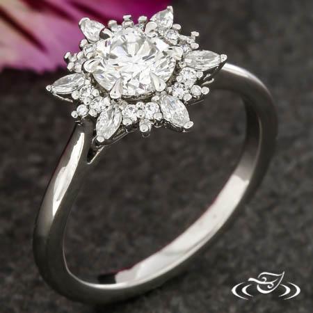 Sunflower Halo Engagement Ring
