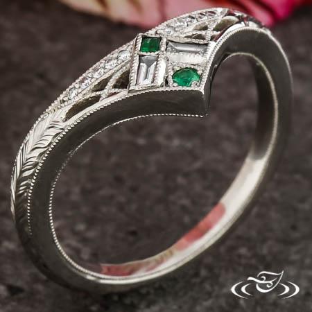 Art Deco Emerald & Diamond Band