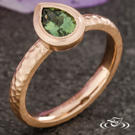 Rustic Pear Engagement Ring
