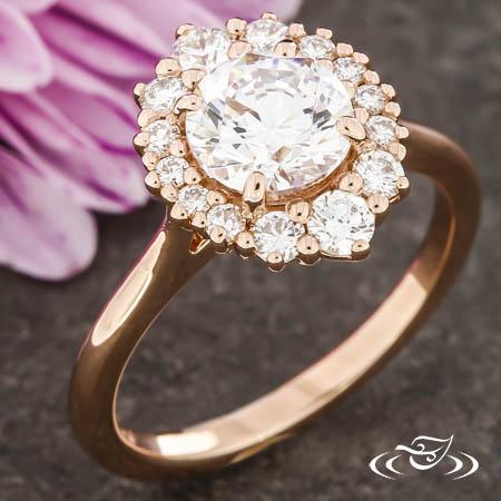Graduating Diamond Halo Ring