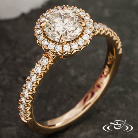 14Kr Halo Ring With Natural Pink Diamond Center