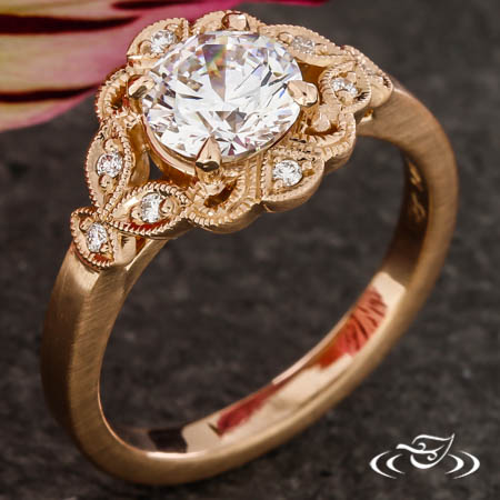 Rose Gold Antique Inspired Halo