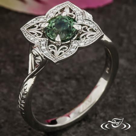 Quatrefoil Sapphire Engagement Ring