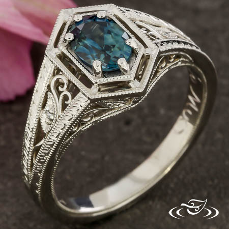 Antique Inspired Montana Sapphire Engagement Ring