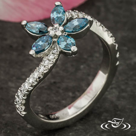 Teal Flower Ring