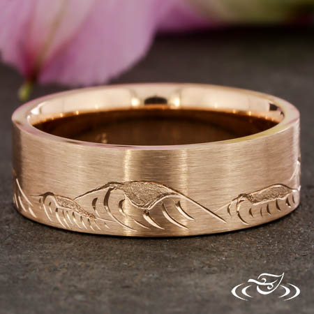 Custom Hand Engraved Mountain And Wave Ring