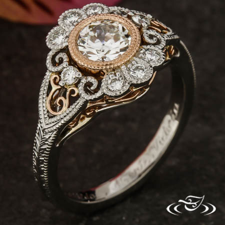 Two-Tone Vintage Inspired Halo Ring